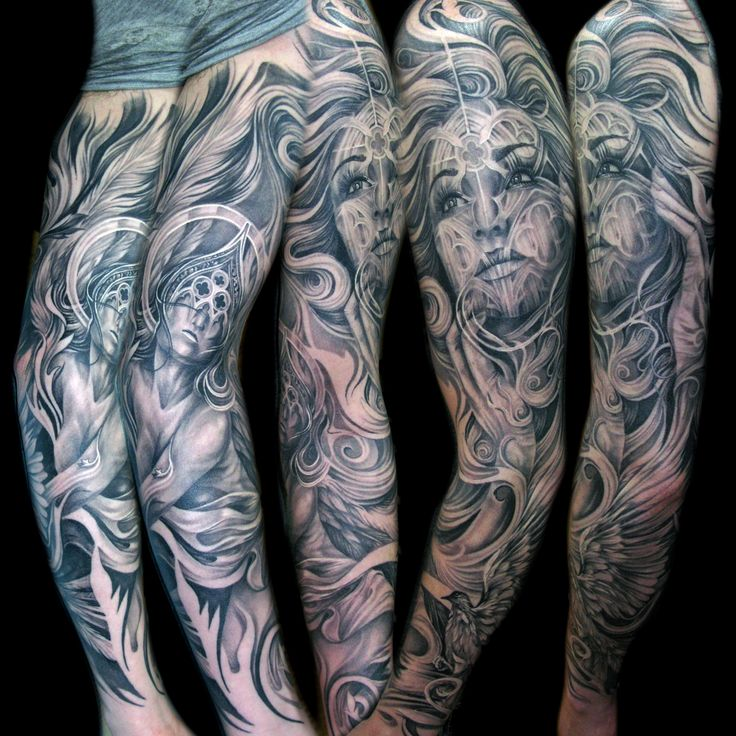 tattoo blackandgray realistic fullsleeve sleeve angel cathedral tattoos pinterest. Black Bedroom Furniture Sets. Home Design Ideas