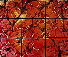 "9 Panel Fugue in Autumn by Cynthia Miller (Art Glass Wall Sculpture) (34"" x 40"")"