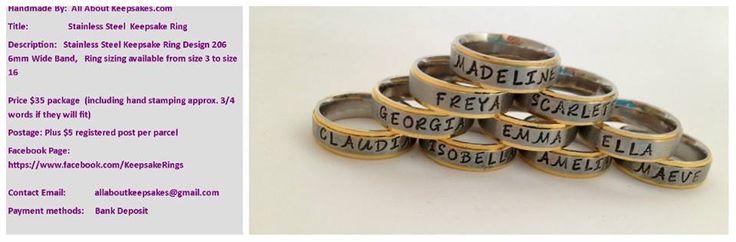 Handmade by All About Keepsakes  Keepsake ring