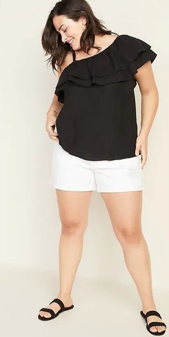 Plus-Size Ruffle-Trim One-Shoulder Top
