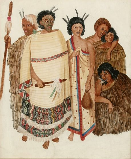 Hone Heke and his wife, Harriet with four attendants c.1845