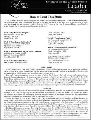 Call Him Savior: Scriptures for the Church Seasons, Lent 2012 - Leader ...