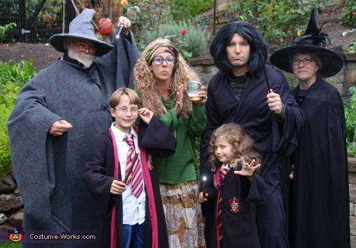 Cindy: We ordered the Harry & Hermoine costumes online -- added the tie, white shirts, scar and wands. For Professor Trelawney, I made a trip to Berkeley and found the skirt,...