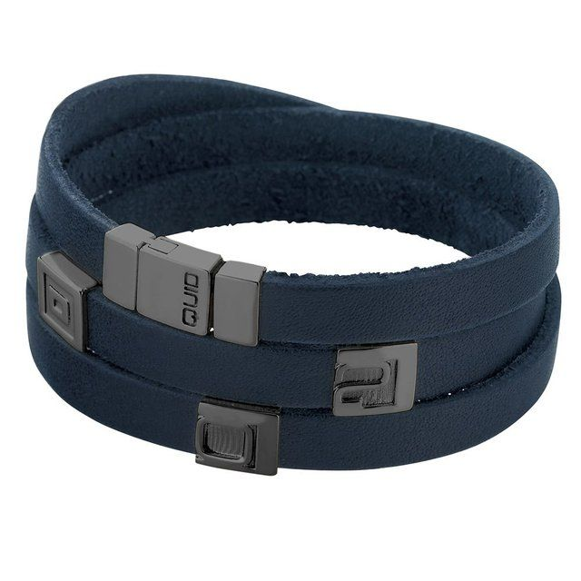 Fancy | Personalized Quid Bracelet, Blue Leather with three black rhodium plated 925 Silver elements