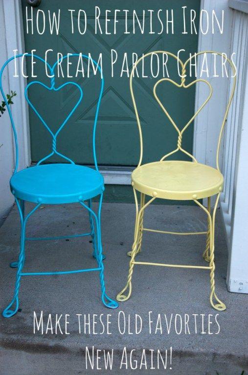 Refinishing Vintage Iron Sweetheart Ice Cream Parlor Chairs via shesingswedance
