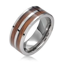 Weekend Deals 8mm  Double Wood inlay Tungsten Wedding ring bague mens rings anillos anel anillo anel masculino aneis