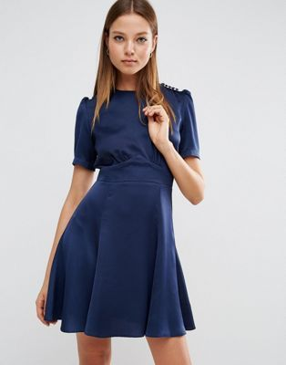 ASOS Short Sleeve Satin Tea Dress With Rouleau Buttons