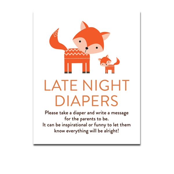 Baby Shower Cute Woodland Fox Forest Baby Animals   Activity Late Night  Diapers   Instant Download