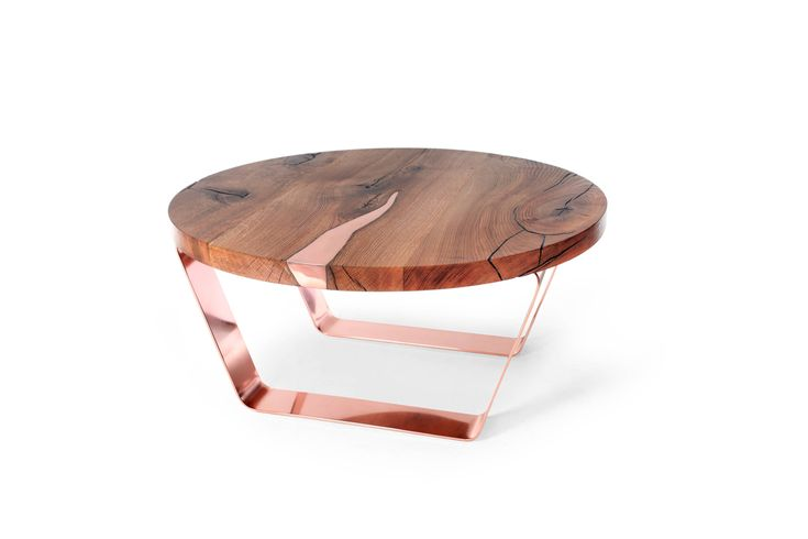 Round Coffee table Beetle with copper inlay, solid copper legs. Modern table.