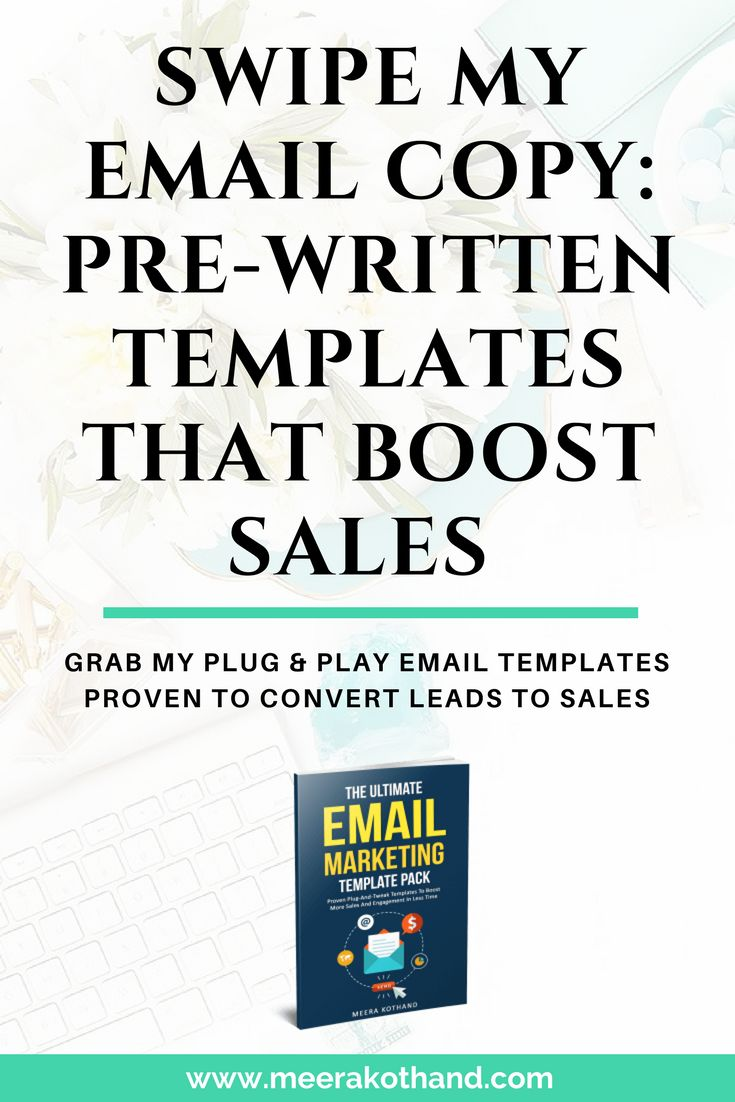 Swipe my email copy! I've put together this Email Marketing Template Pack to make it easy for you to make sales. It has word-for-word scripts that I've tested and optimized. They will boost your sales and engagement in less time. At only $19, the template pack will be the most pocket-friendly investment you'll make to take command of email marketing for your blog and business!