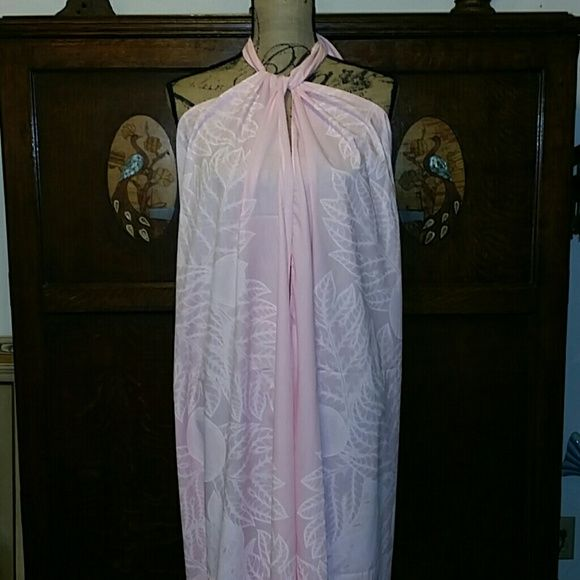 Sarong Pareau Hawaiian Dress Vintage Lovely pastel pink tone on tone leaf pattern vintage sarong pareau. Purchased in Hawaii. Has some spots around the hem, I think from storage. Approximately 44 inches from back to hem. Very adjustable as a halter or sarong skirt. Never worn Dresses Backless