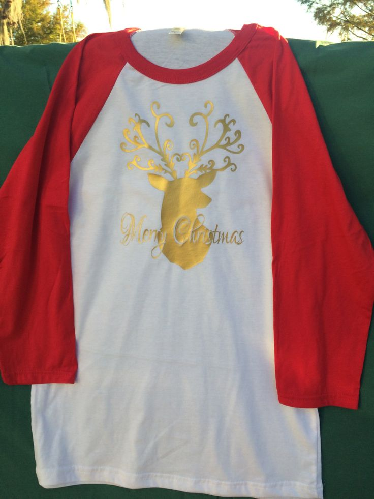 Adult Merry Christmas Shirt; Deer Silhouette Shirt; Merry Christmas Deer Shirt; Christmas Shirt by AngiesStitchInTime on Etsy