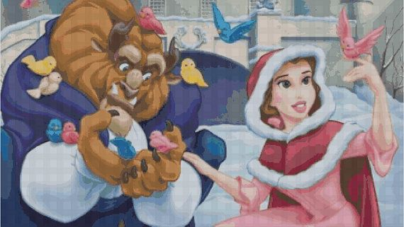 Counted Cross Stitch Pattern Disney Belle Beauty and by dueamici