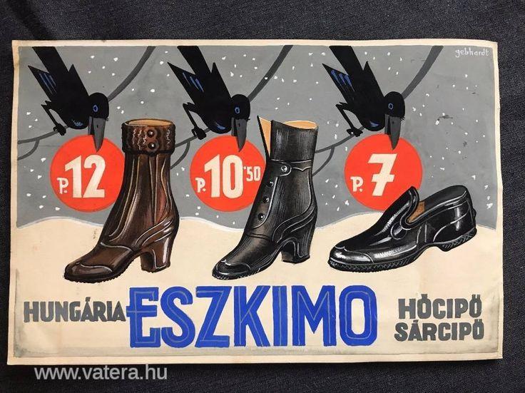 Gönczi Gebhardt Tibor (1902 - 1994) Eszkimó cipó plakát terv,tempera papír. Klösz György és fia Mihály Gyűjtemény