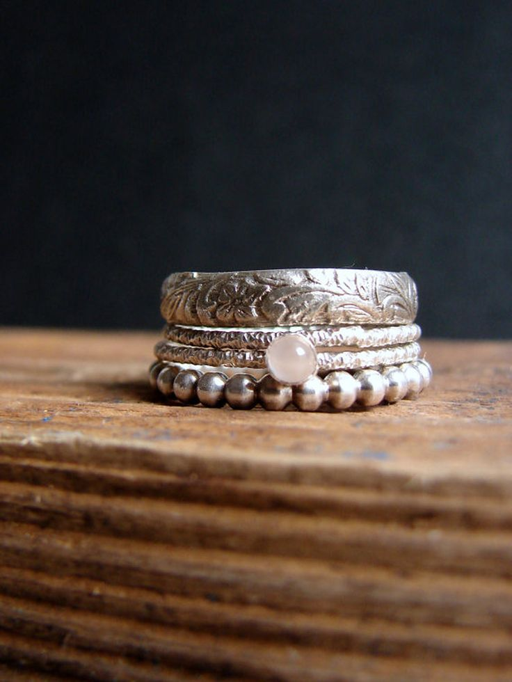 Moonstone & Sterling Silver Stacking Rings   Nafsika on Etsy