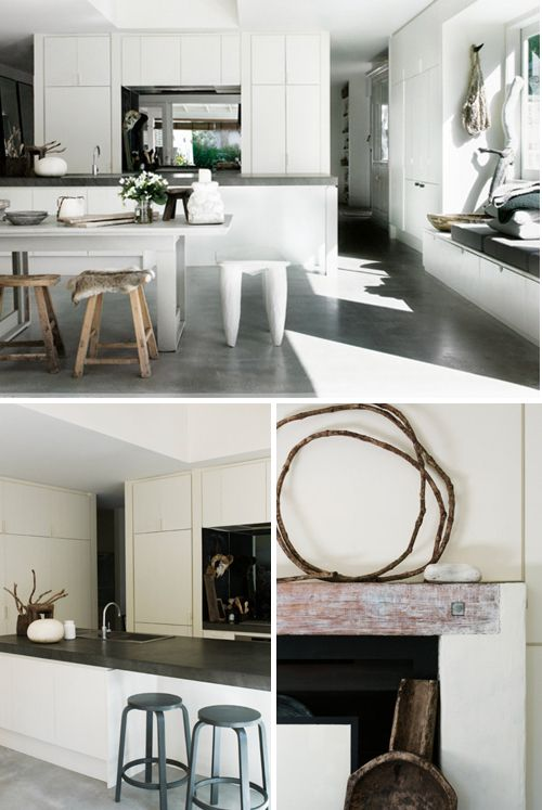 a beautiful beach cottage in australia   THE STYLE FILES.  Mis-matched  stools and a large white table.
