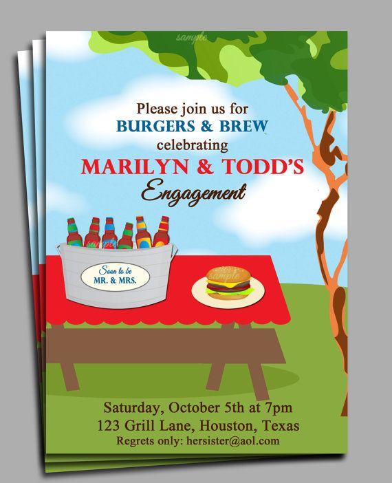 Burgers and Brew Invitation Printable - Backyard BBQ, Shower, Engagement, Birthday, Anniversary, ANY Occasion. $15.00, via Etsy.