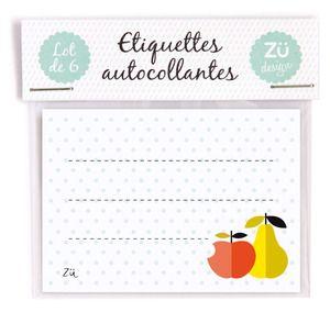 """Image of Lot de 6 étiquettes autocollantes """"Fruits"""""""