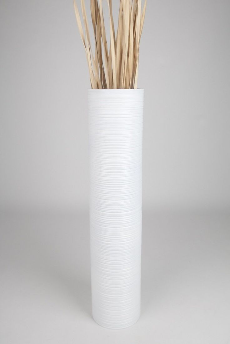 Tall Floor Vase 90 cm, Mango Wood, White: Amazon.co.uk