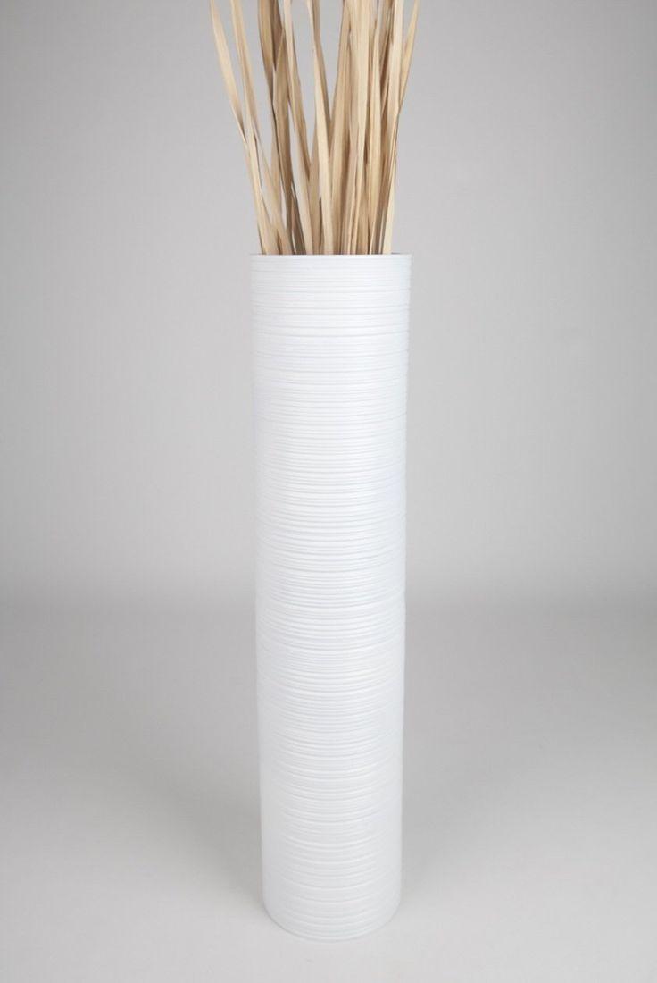 Tall Floor Vase 90 Cm Mango Wood White