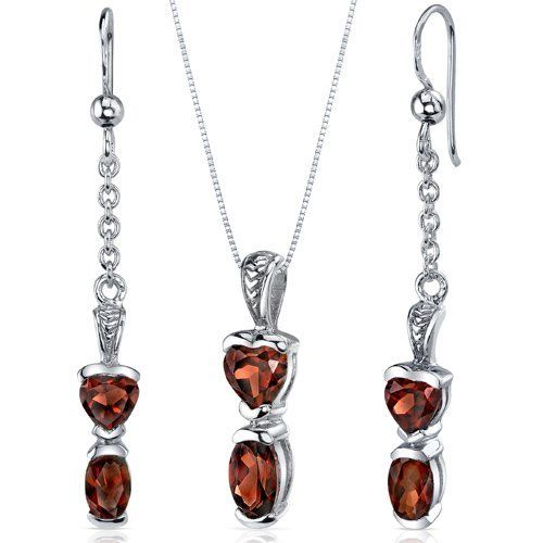 Cupids Charm 3.00 carats Oval and Heart Shape Sterling Silver with Rhodium Finish Garnet Pendant Earrings Set Peora. $44.99. Save 75%!