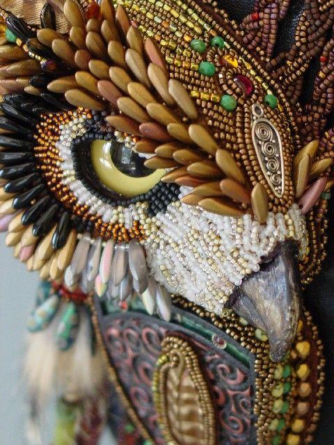 Heidi Kummli art owl...Beads, Wow.