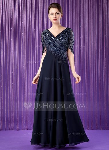 A-Line/Princess V-neck Floor-Length Chiffon Mother of the Bride Dress With Ruffle Beading Sequins (008018715) - JJsHouse