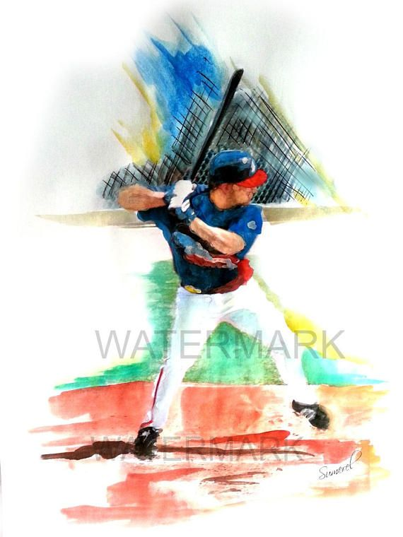 Baseball Print, Baseball Wall Art, Sports Print, Sports Gift, Sports Bar Decor, Boy's Room Decor, Man Cave Decor, Watercolor Print