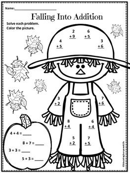 free falling into math worksheet click on the scarecrow to download this fall freebie - Fall Worksheets For First Grade