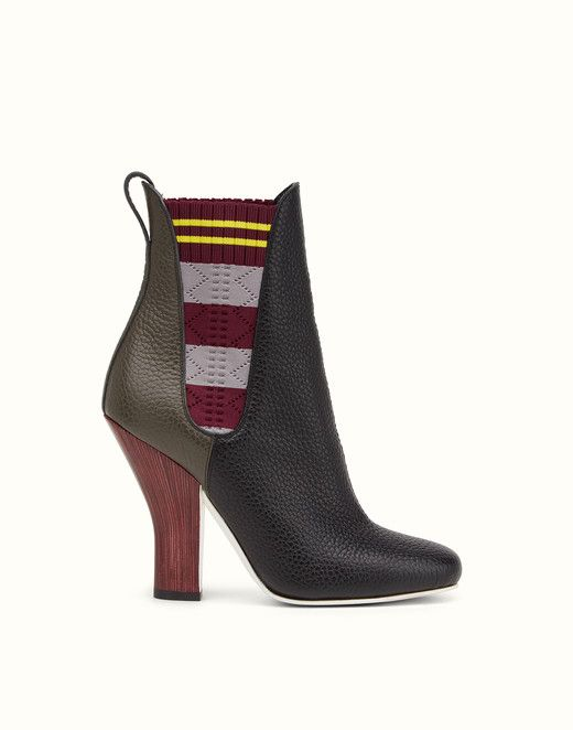 FENDI BOOTS - Black and charcoal leather ankle boots