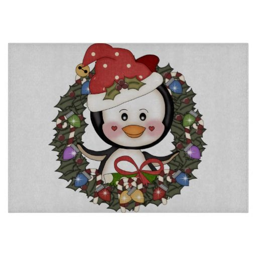 Christmas Penguin Holiday Wreath Cutting Board | Christmas Decorations ...