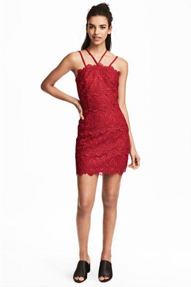 Koronkowa sukienka - Czerwony - ONA | H&M PL 1