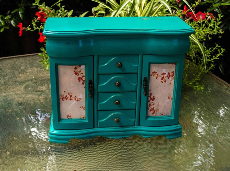 Large Jewelry Box, SHABBY CHIC Turquoise Blue Jewelry Box, Turquoise Jewelry Armoire by jaxscorner on Etsy https://www.etsy.com/listing/455898548/large-jewelry-box-shabby-chic-turquoise