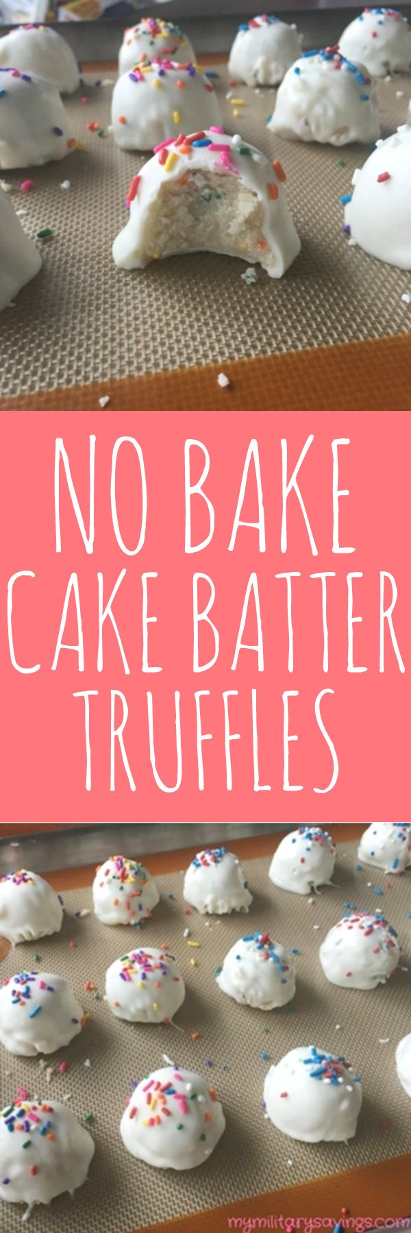 How to make no bake cake batter truffles! Perfect for holidays and parties! Add this to your no-bake desserts recipes board!