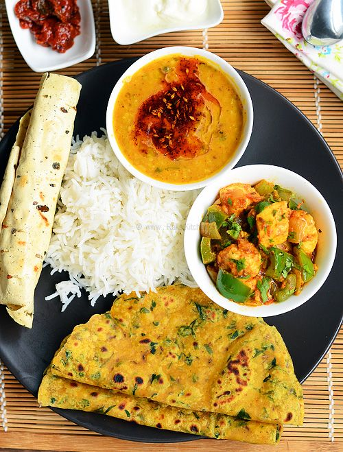 lunch menu north india fast methi-thepla-dal-kadai-paneer