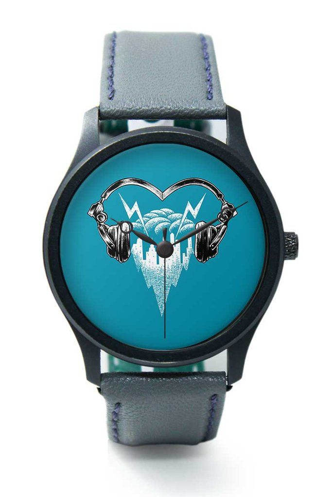 I Love Music Headphones Premium Men Wrist Watch