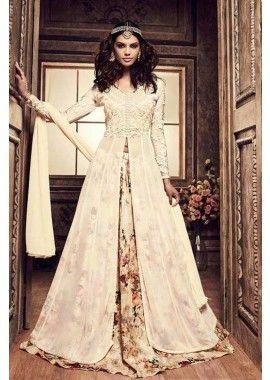 couleur crème Anarkali de soie costume, - 139,00 €, #Modeparis #Francemode #Shopkund #AnarkaliCostume