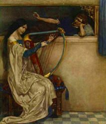 William Russell Flint - 'And there Tramtrist learned her to harp, and she began to have a great fantasy unto him ...' from ''Le Morte d'Arthur: The Book of King Arthur and his Noble Knights of the Round Table'' (1910-11)