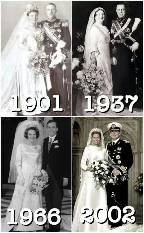 Dutch Royal Weddings 1901 Queen Wilhelmina and Prince Henry, 1937 Queen Juliana and Prince Bernhard, 1966 Queen Beatrix and Prince Claus, 2002 King Willem-Alexander and Queen Maxima