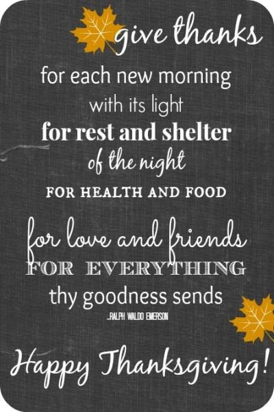 Happy Thanksgiving!  My favorite quote from Ralph Waldo Emerson.