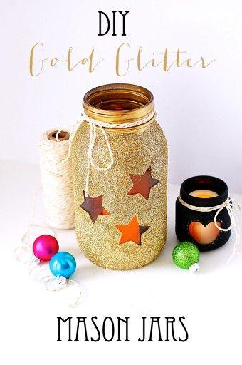 DIY Gold Glitter Mason Jars with bling stars and balls fo 2014 - thread decor, heart jar, home decor - LoveItSoMuch.com
