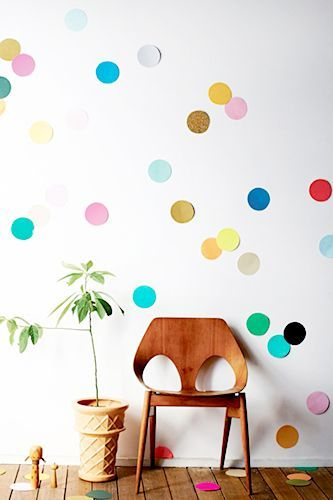cheap party decor idea - giant colored paper for wall confetti
