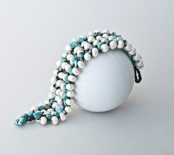 Bracelet  Turquoise and Pearls Bracelet by PiscesAndFishes on Etsy, $52.00