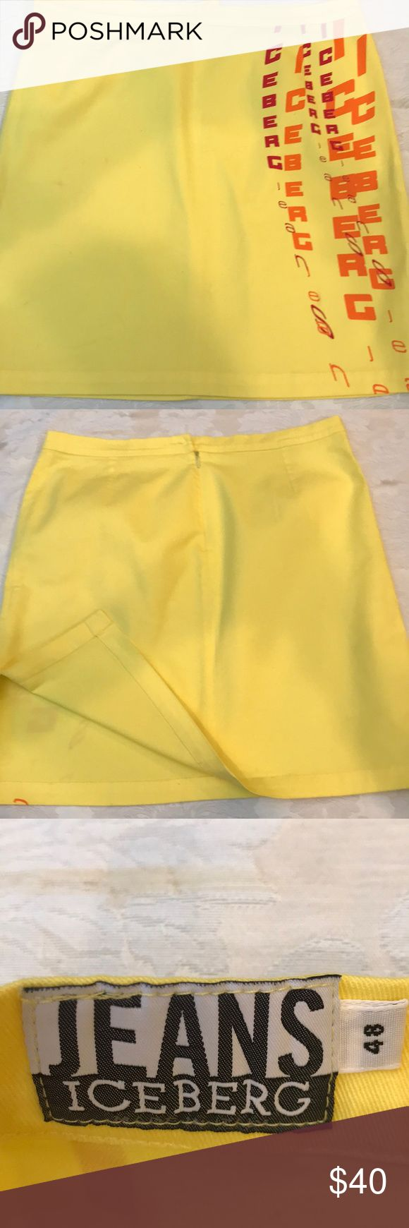 Iceberg jeans skirt sz48 In a very good condition was wear once jeans yellow skirt sz48 by Iceberg Jeans. Missing button Iceberg Skirts Midi