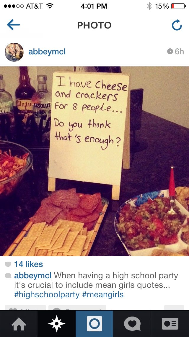 Mean Girls Party Food found on IG                                                                                                                                                                                 More