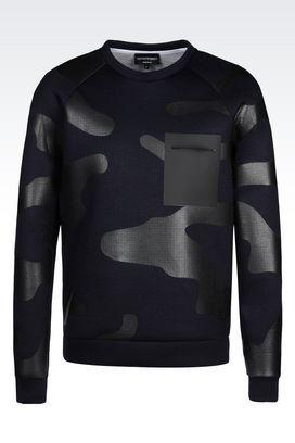 Armani Sweatshirts Men runway sweatshirt in camouflage neoprene