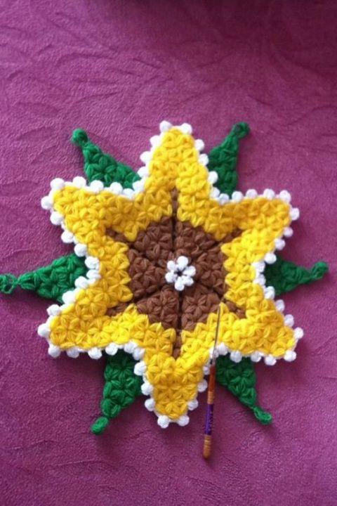 Ayçiçeği Lif Modeli Yapılışı #baby #knit #knitting #handmade #örgü