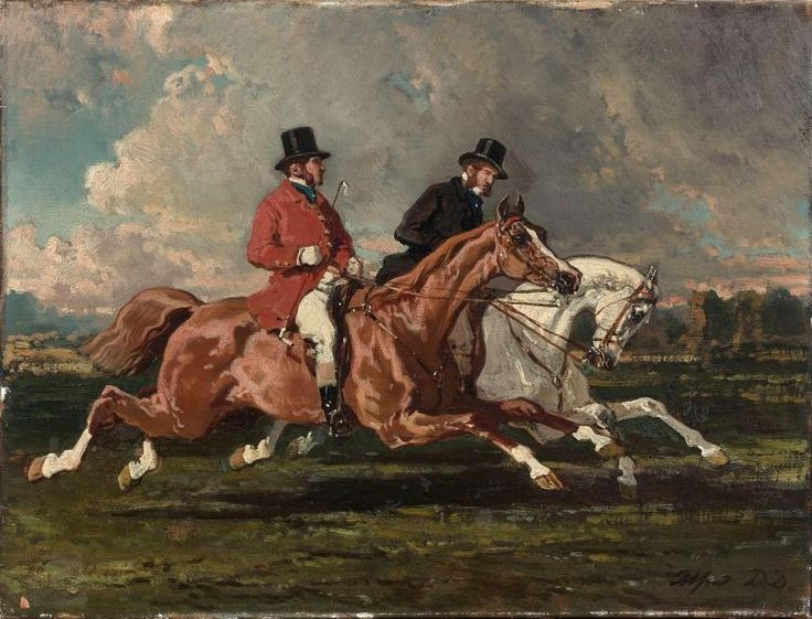 Alfred De Dreux Paris, 1810 - 1860 Cavaliers au galop Huile sur toile