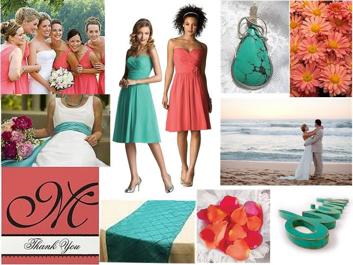 Salmon & Turquoise Beach Love : PANTONE WEDDING Styleboard : The Dessy Group