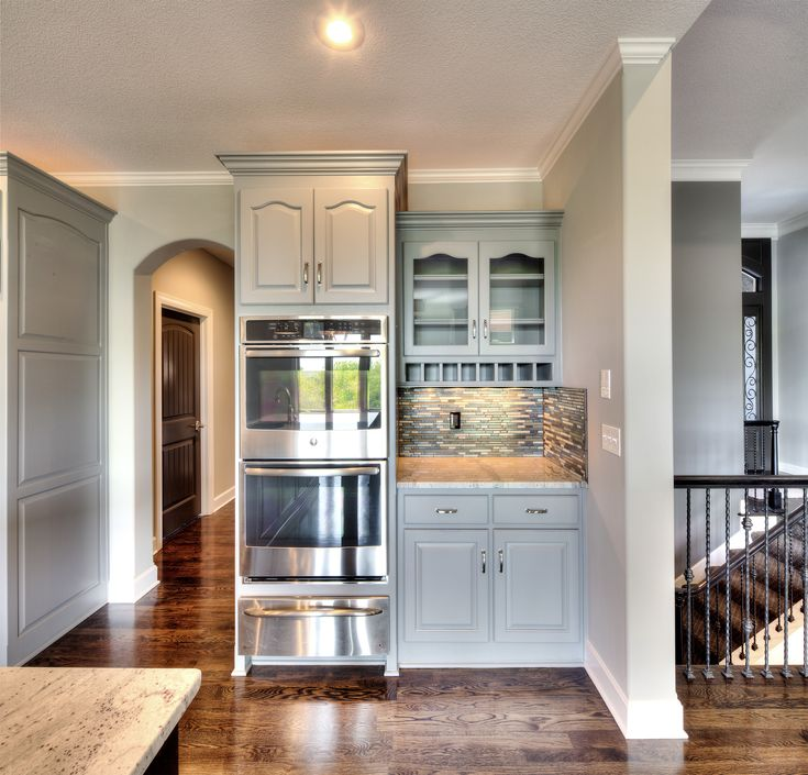 Home Built Kitchen Cabinets: Built In Stainless Steel Double Oven: Gray Painted Kitchen